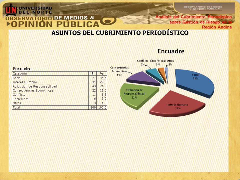CONSTRUCCIÓN MEDIÁTICA DE LA REHABILITACIÓN Y RECONSTRUCCIÓN Análisis del Cubrimiento Periodístico sobre Gestión de Riesgo en la Región Andina