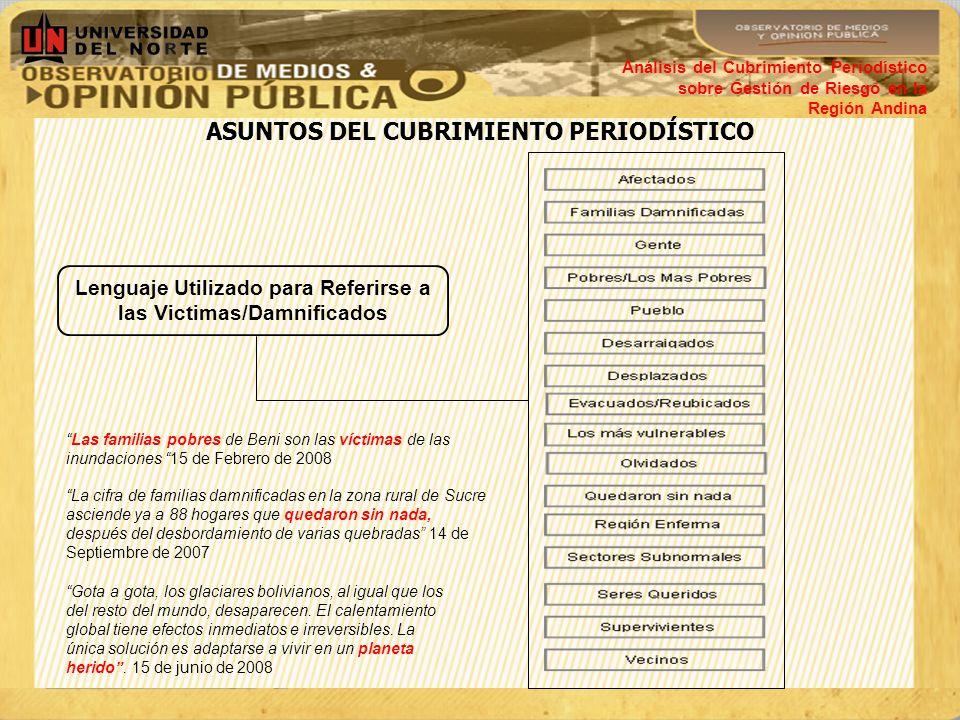 ASUNTOS DEL CUBRIMIENTO PERIODÍSTICO Análisis del Cubrimiento Periodístico sobre Gestión de Riesgo en la Región Andina Lenguaje Utilizado para Referir