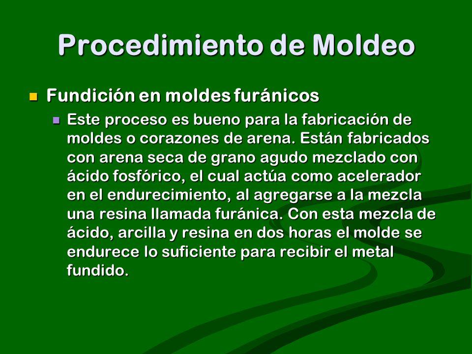 Procedimiento de Moldeo Fundición en moldes furánicos Fundición en moldes furánicos Este proceso es bueno para la fabricación de moldes o corazones de