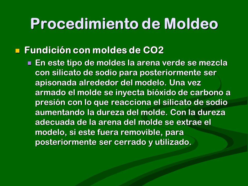 Procedimiento de Moldeo Fundición con moldes de CO2 Fundición con moldes de CO2 En este tipo de moldes la arena verde se mezcla con silicato de sodio