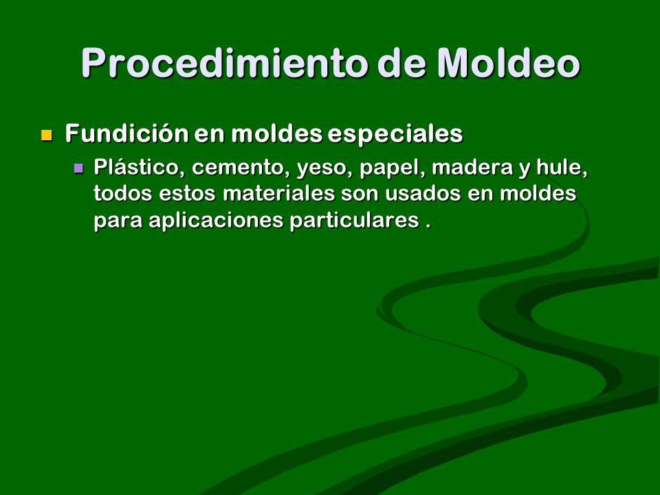 Procedimiento de Moldeo Fundición en moldes especiales Fundición en moldes especiales Plástico, cemento, yeso, papel, madera y hule, todos estos mater