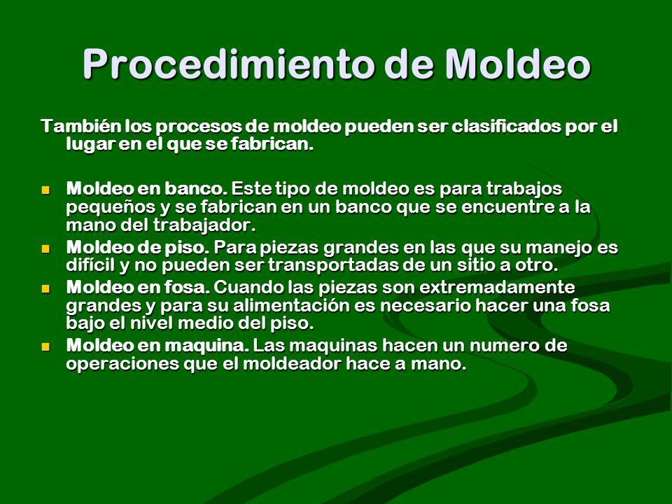 Procedimiento de Moldeo También los procesos de moldeo pueden ser clasificados por el lugar en el que se fabrican. Moldeo en banco. Este tipo de molde