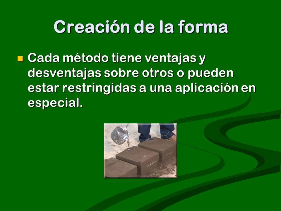 Creación de la forma Cada método tiene ventajas y desventajas sobre otros o pueden estar restringidas a una aplicación en especial. Cada método tiene