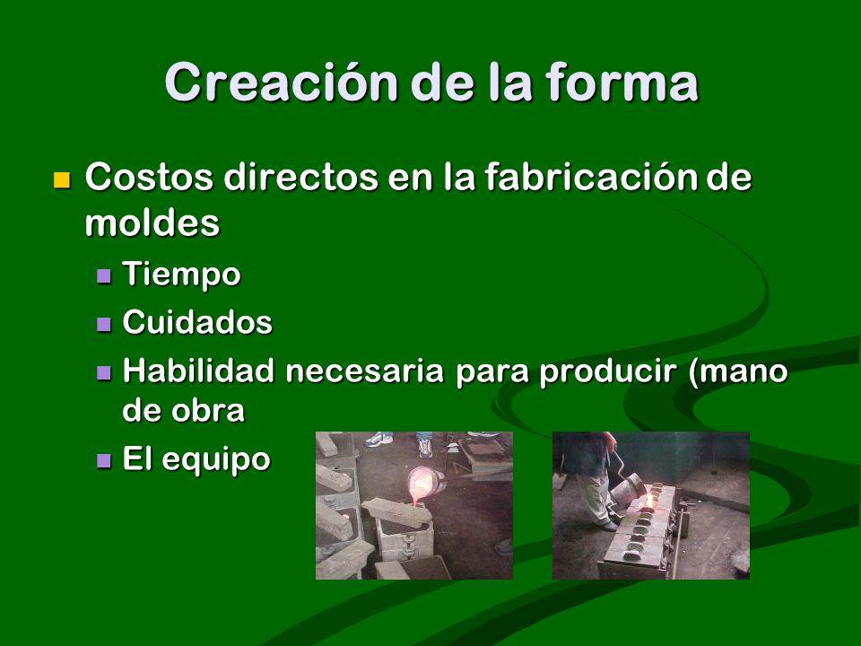 Creación de la forma Costos directos en la fabricación de moldes Costos directos en la fabricación de moldes Tiempo Tiempo Cuidados Cuidados Habilidad