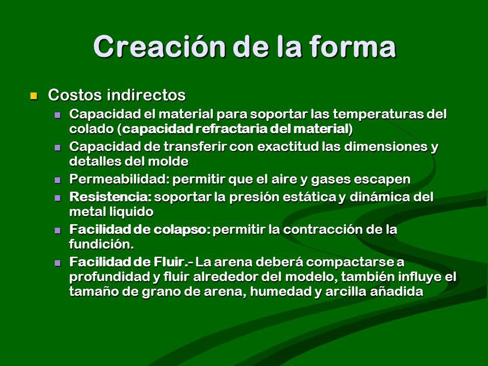 Creación de la forma Costos indirectos Costos indirectos Capacidad el material para soportar las temperaturas del colado (capacidad refractaria del ma