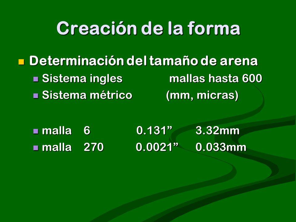 Creación de la forma Determinación del tamaño de arena Determinación del tamaño de arena Sistema ingles mallas hasta 600 Sistema ingles mallas hasta 6