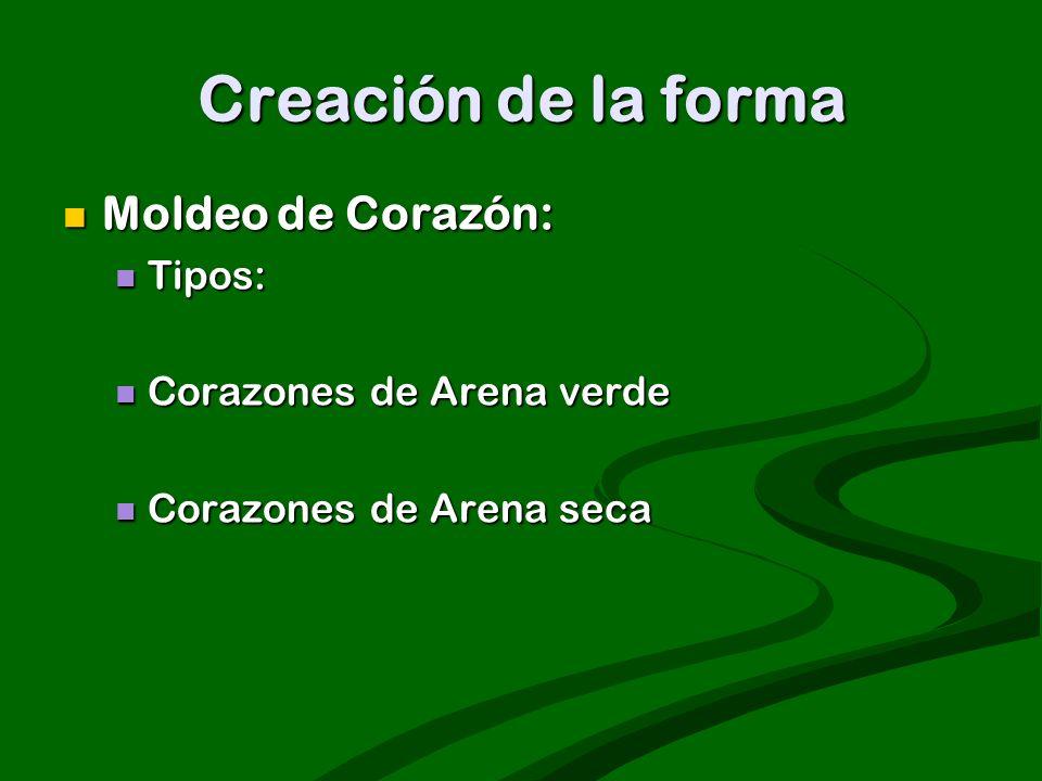 Creación de la forma Moldeo de Corazón: Moldeo de Corazón: Tipos: Tipos: Corazones de Arena verde Corazones de Arena verde Corazones de Arena seca Cor
