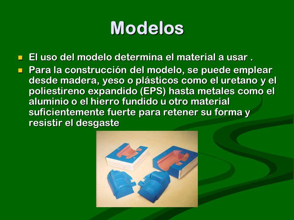Modelos El uso del modelo determina el material a usar. El uso del modelo determina el material a usar. Para la construcción del modelo, se puede empl