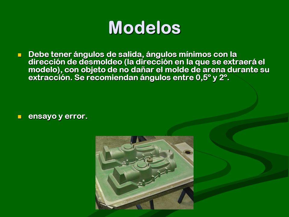 Modelos Debe tener ángulos de salida, ángulos mínimos con la dirección de desmoldeo (la dirección en la que se extraerá el modelo), con objeto de no d