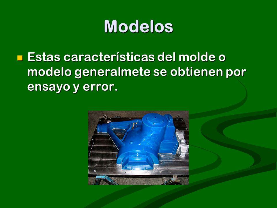Modelos Estas características del molde o modelo generalmete se obtienen por ensayo y error. Estas características del molde o modelo generalmete se o