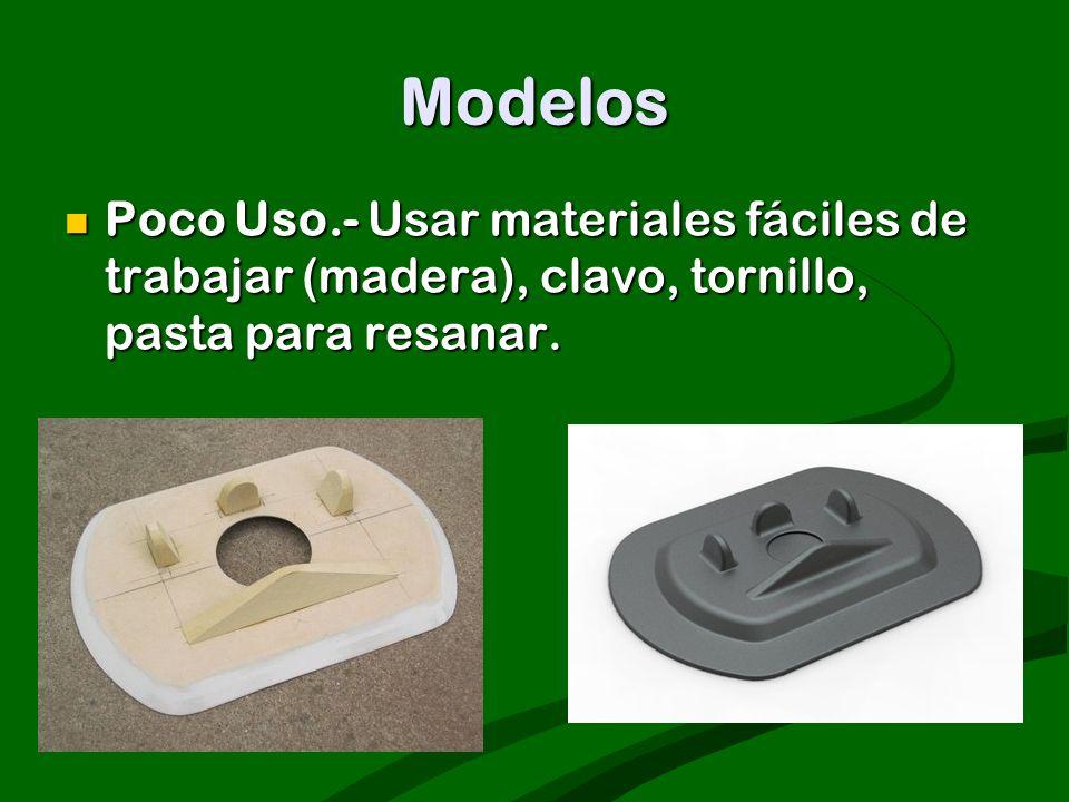Modelos Poco Uso.- Usar materiales fáciles de trabajar (madera), clavo, tornillo, pasta para resanar. Poco Uso.- Usar materiales fáciles de trabajar (