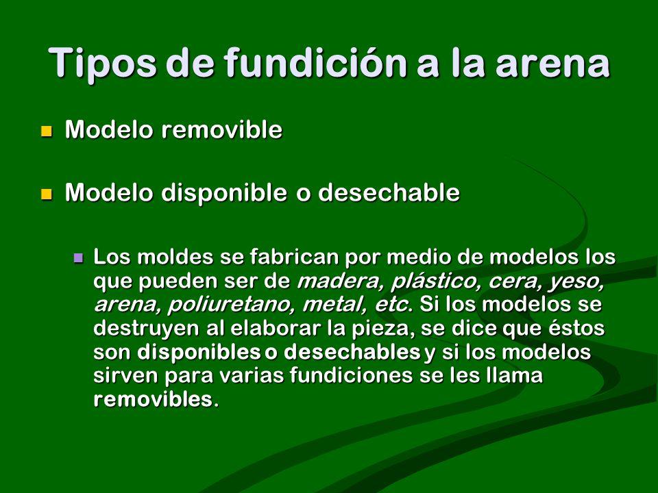 Tipos de fundición a la arena Modelo removible Modelo removible Modelo disponible o desechable Modelo disponible o desechable Los moldes se fabrican p