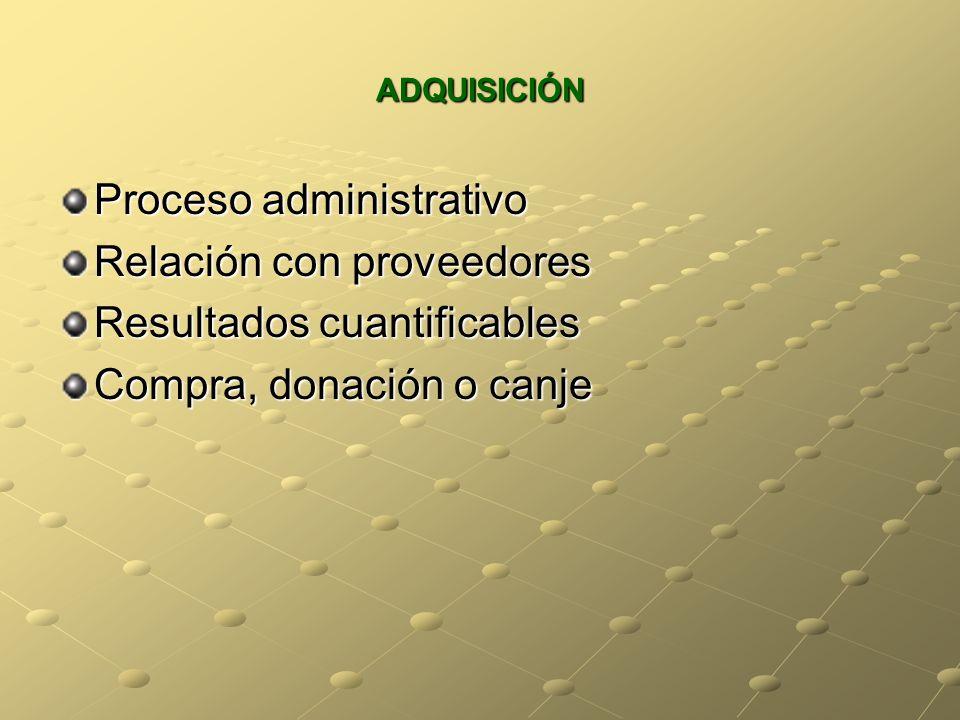 ADQUISICIÓN Proceso administrativo Relación con proveedores Resultados cuantificables Compra, donación o canje
