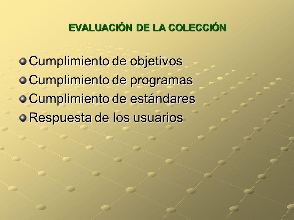 EVALUACIÓN DE LA COLECCIÓN Cumplimiento de objetivos Cumplimiento de programas Cumplimiento de estándares Respuesta de los usuarios
