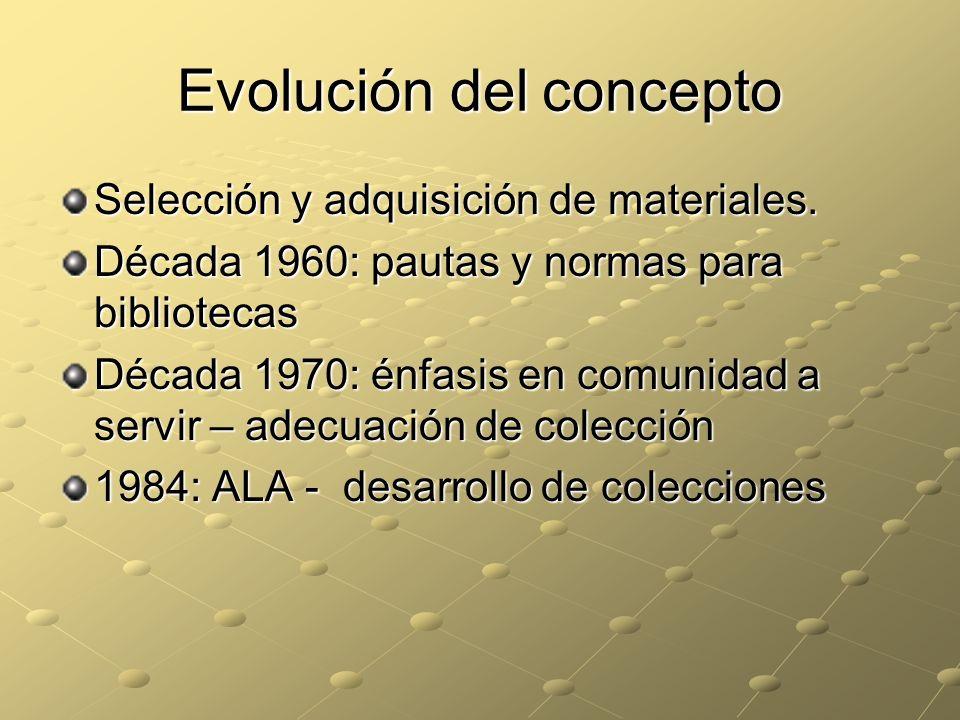 Evolución del concepto Selección y adquisición de materiales. Década 1960: pautas y normas para bibliotecas Década 1970: énfasis en comunidad a servir