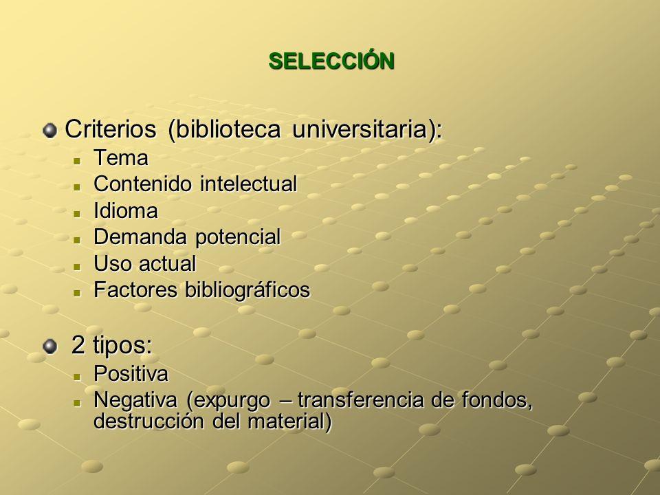 SELECCIÓN Criterios (biblioteca universitaria): Tema Tema Contenido intelectual Contenido intelectual Idioma Idioma Demanda potencial Demanda potencia