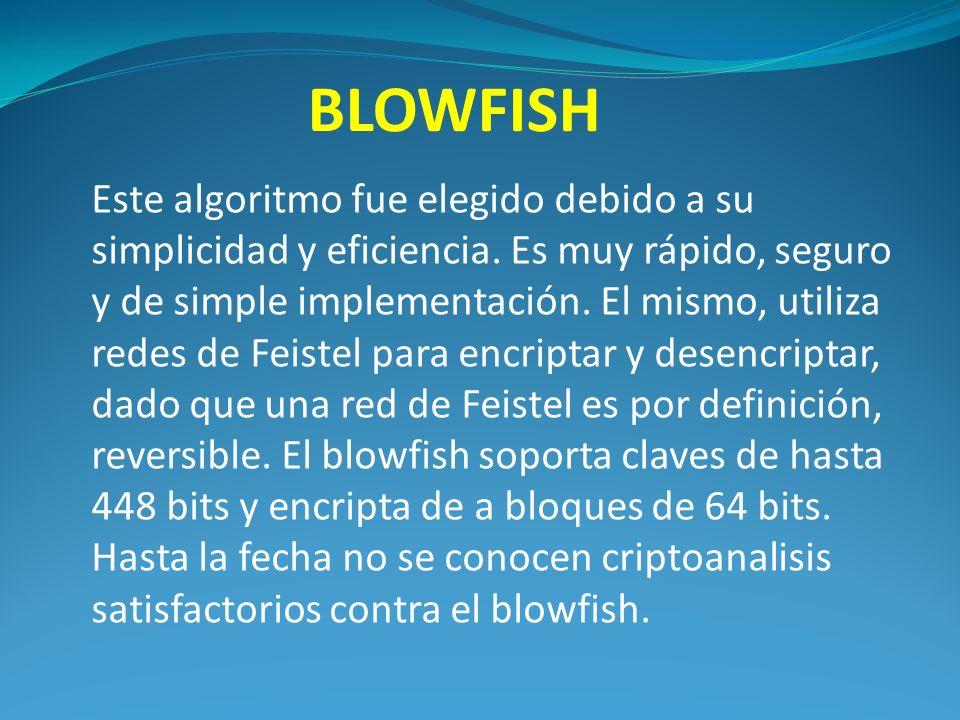 BLOWFISH Este algoritmo fue elegido debido a su simplicidad y eficiencia.