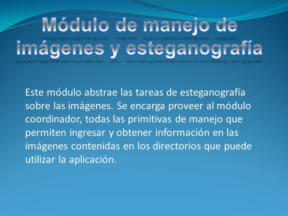 Este módulo abstrae las tareas de esteganografía sobre las imágenes.