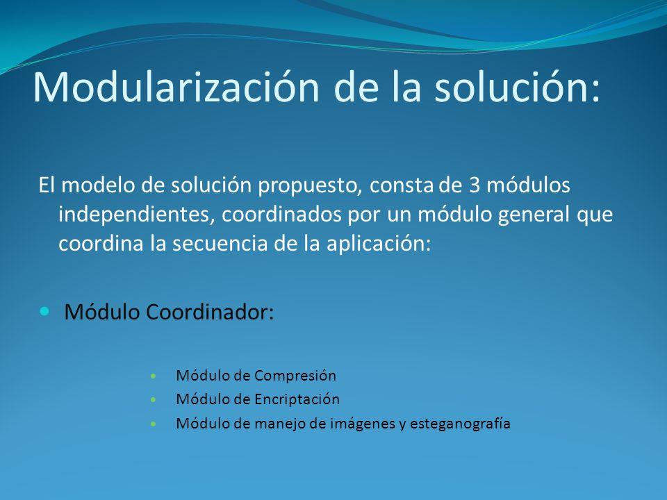 Modularización de la solución: El modelo de solución propuesto, consta de 3 módulos independientes, coordinados por un módulo general que coordina la secuencia de la aplicación: Módulo Coordinador: Módulo de Compresión Módulo de Encriptación Módulo de manejo de imágenes y esteganografía