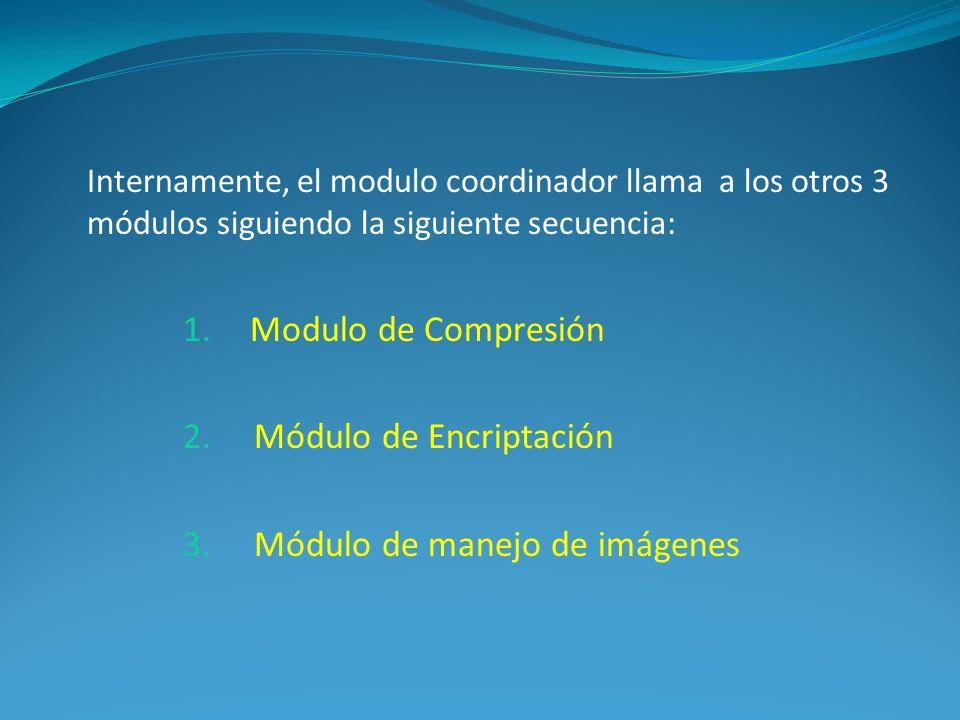 Internamente, el modulo coordinador llama a los otros 3 módulos siguiendo la siguiente secuencia: 1.Modulo de Compresión 2.