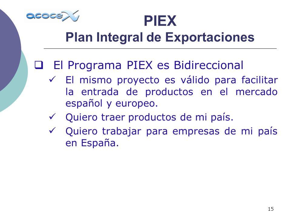15 El Programa PIEX es Bidireccional El mismo proyecto es válido para facilitar la entrada de productos en el mercado español y europeo. Quiero traer