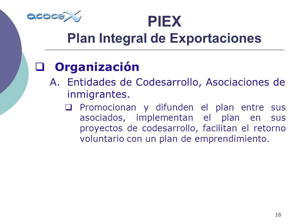 16 Organización A.Entidades de Codesarrollo, Asociaciones de inmigrantes. Promocionan y difunden el plan entre sus asociados, implementan el plan en s