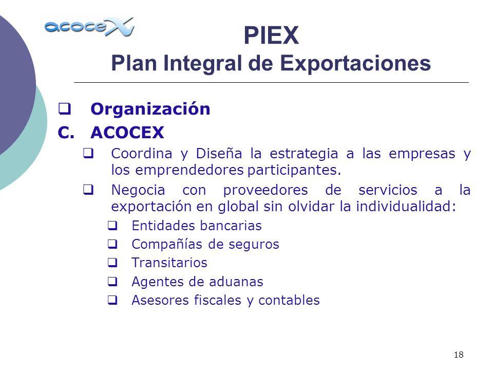 18 Organización C.ACOCEX Coordina y Diseña la estrategia a las empresas y los emprendedores participantes. Negocia con proveedores de servicios a la e