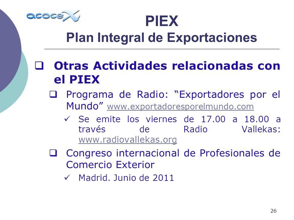 26 Otras Actividades relacionadas con el PIEX Programa de Radio: Exportadores por el Mundo www.exportadoresporelmundo.com www.exportadoresporelmundo.c