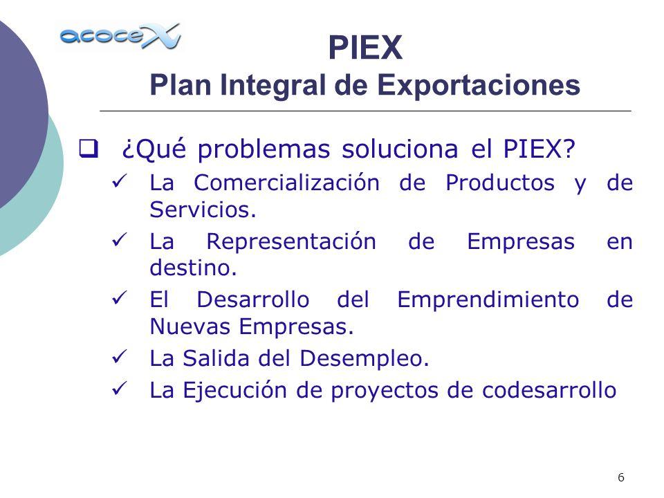 6 ¿Qué problemas soluciona el PIEX? La Comercialización de Productos y de Servicios. La Representación de Empresas en destino. El Desarrollo del Empre
