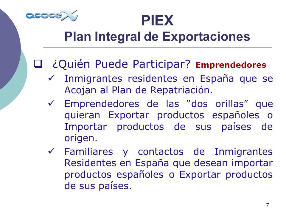 7 ¿Quién Puede Participar? Emprendedores Inmigrantes residentes en España que se Acojan al Plan de Repatriación. Emprendedores de las dos orillas que