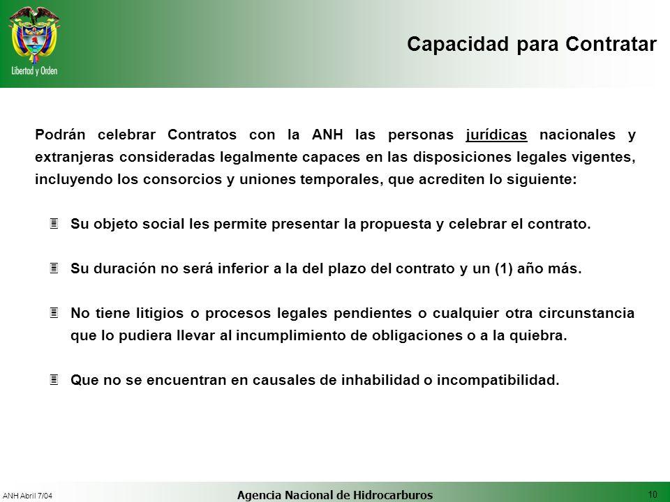 10 ANH Abril 7/04 Agencia Nacional de Hidrocarburos Podrán celebrar Contratos con la ANH las personas jurídicas nacionales y extranjeras consideradas