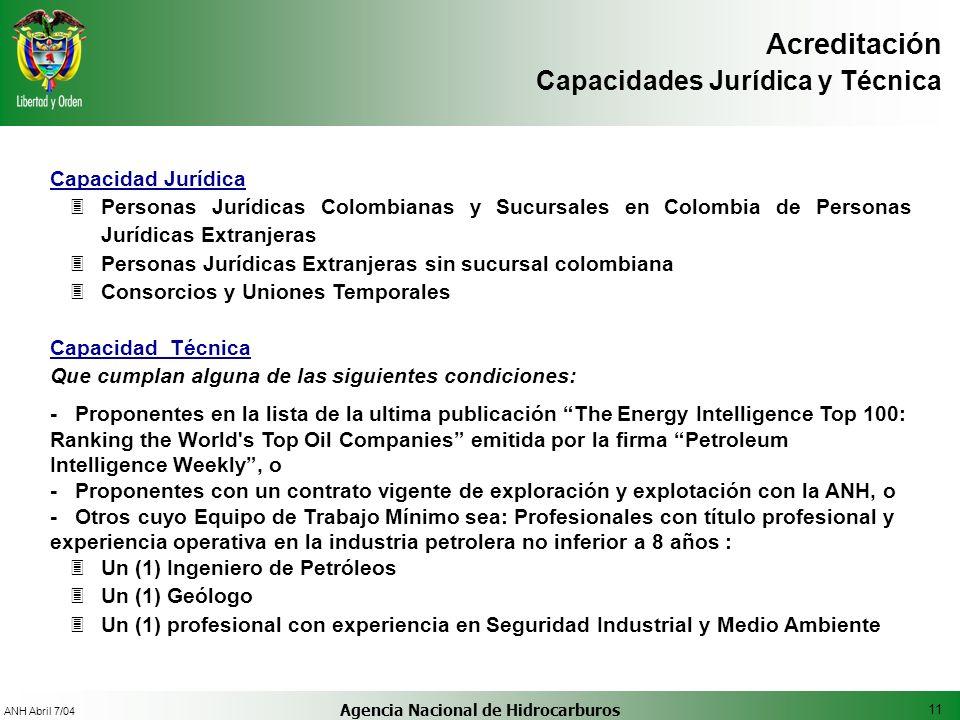 11 ANH Abril 7/04 Agencia Nacional de Hidrocarburos Acreditación Capacidades Jurídica y Técnica Capacidad Jurídica 3Personas Jurídicas Colombianas y S