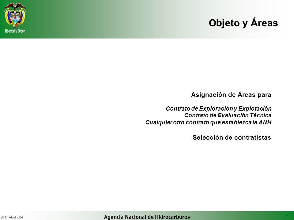 2 ANH Abril 7/04 Agencia Nacional de Hidrocarburos Objeto y Áreas Asignación de Áreas para Contrato de Exploración y Explotación Contrato de Evaluació