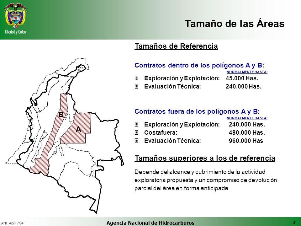 4 ANH Abril 7/04 Agencia Nacional de Hidrocarburos Tamaño de las Áreas Tamaños de Referencia Contratos dentro de los polígonos A y B: NORMALMENTE HAST