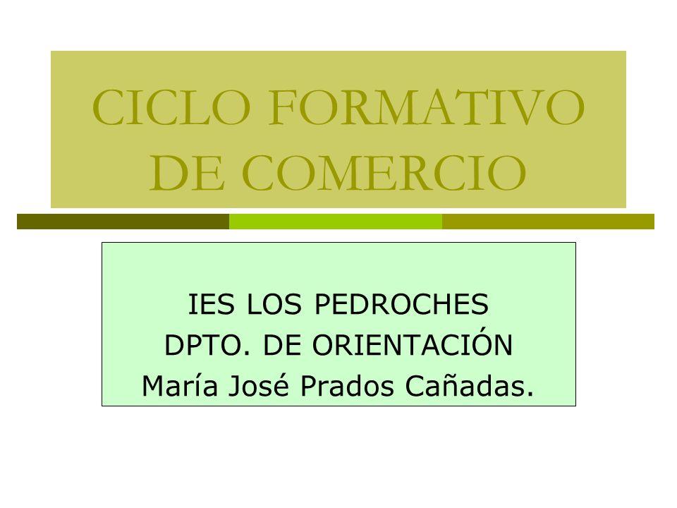 CICLO FORMATIVO DE COMERCIO IES LOS PEDROCHES DPTO. DE ORIENTACIÓN María José Prados Cañadas.