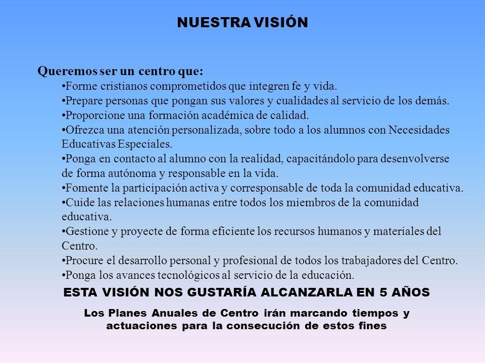 NUESTRA VISIÓN ESTA VISIÓN NOS GUSTARÍA ALCANZARLA EN 5 AÑOS Los Planes Anuales de Centro irán marcando tiempos y actuaciones para la consecución de e