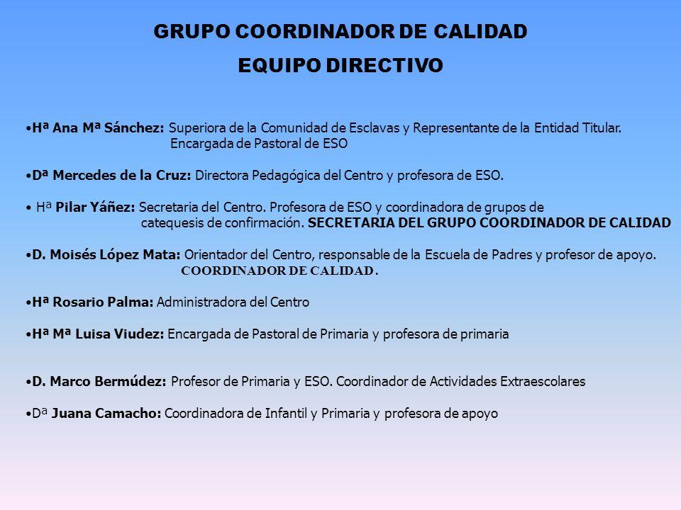 GRUPO COORDINADOR DE CALIDAD EQUIPO DIRECTIVO Hª Ana Mª Sánchez: Superiora de la Comunidad de Esclavas y Representante de la Entidad Titular. Encargad
