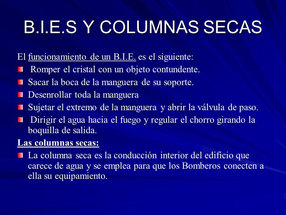 B.I.E.S Y COLUMNAS SECAS El funcionamiento de un B.I.E. es el siguiente: Romper el cristal con un objeto contundente. Sacar la boca de la manguera de