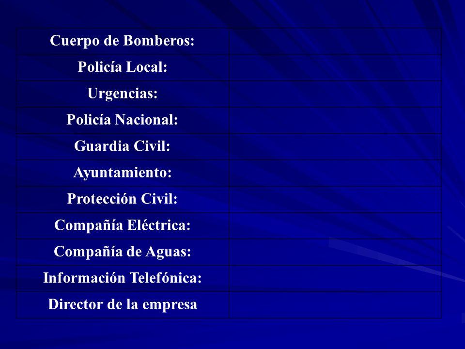Cuerpo de Bomberos: Policía Local: Urgencias: Policía Nacional: Guardia Civil: Ayuntamiento: Protección Civil: Compañía Eléctrica: Compañía de Aguas: