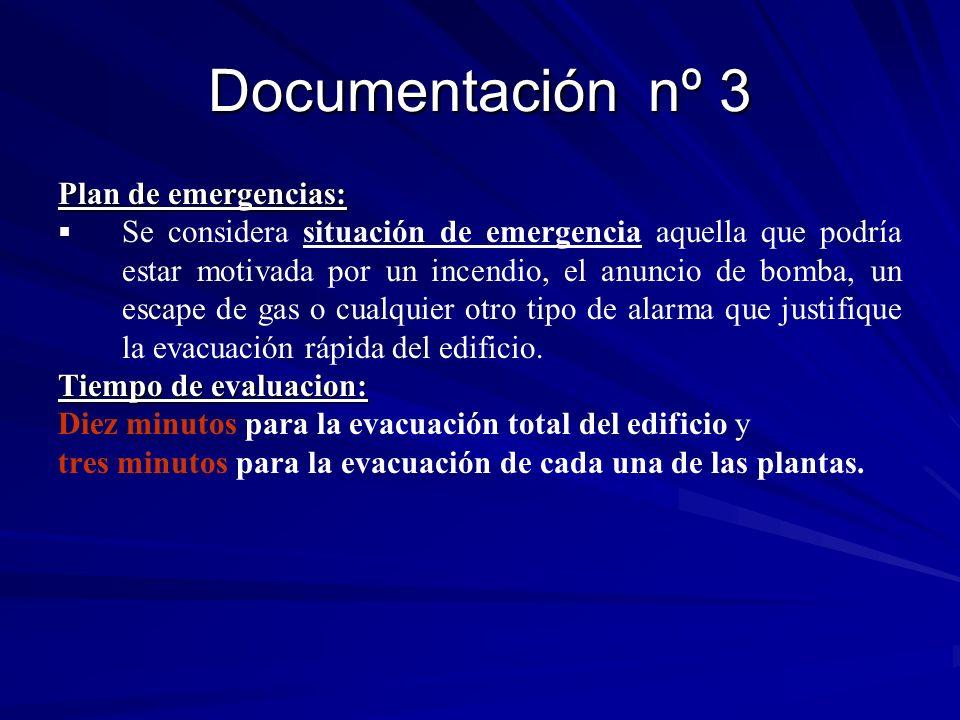 Documentación nº 3 Plan de emergencias: Se considera situación de emergencia aquella que podría estar motivada por un incendio, el anuncio de bomba, u