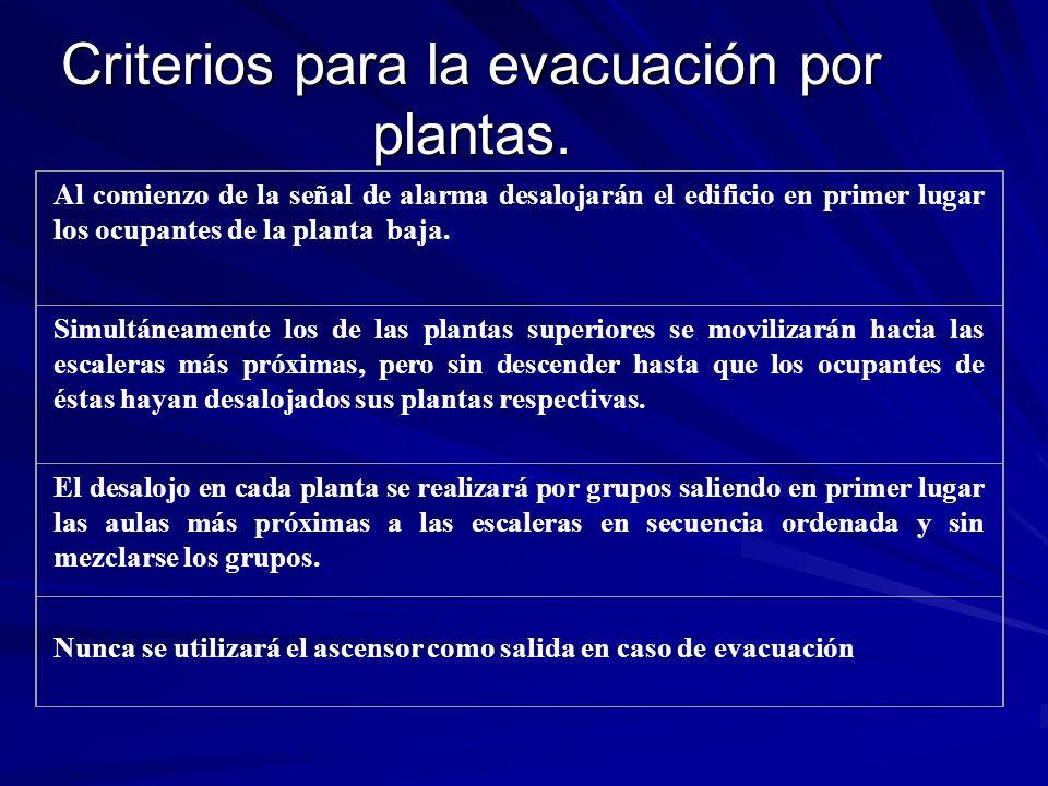Criterios para la evacuación por plantas. Al comienzo de la señal de alarma desalojarán el edificio en primer lugar los ocupantes de la planta baja. S