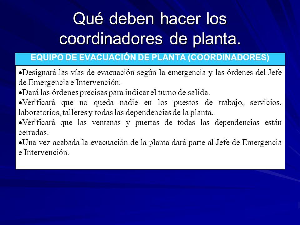 Qué deben hacer los coordinadores de planta. EQUIPO DE EVACUACIÓN DE PLANTA (COORDINADORES) Designará las vías de evacuación según la emergencia y las