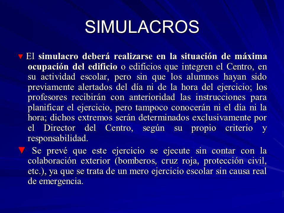 SIMULACROS El simulacro deberá realizarse en la situación de máxima ocupación del edificio o edificios que integren el Centro, en su actividad escolar