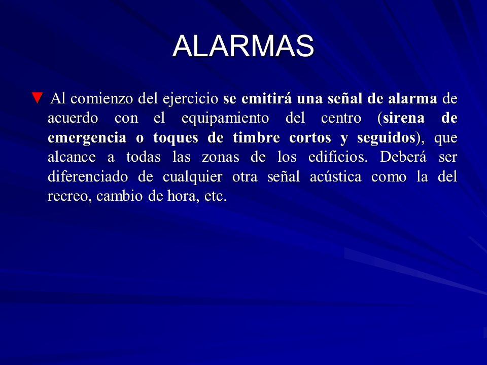 ALARMAS Al comienzo del ejercicio se emitirá una señal de alarma de acuerdo con el equipamiento del centro (sirena de emergencia o toques de timbre co