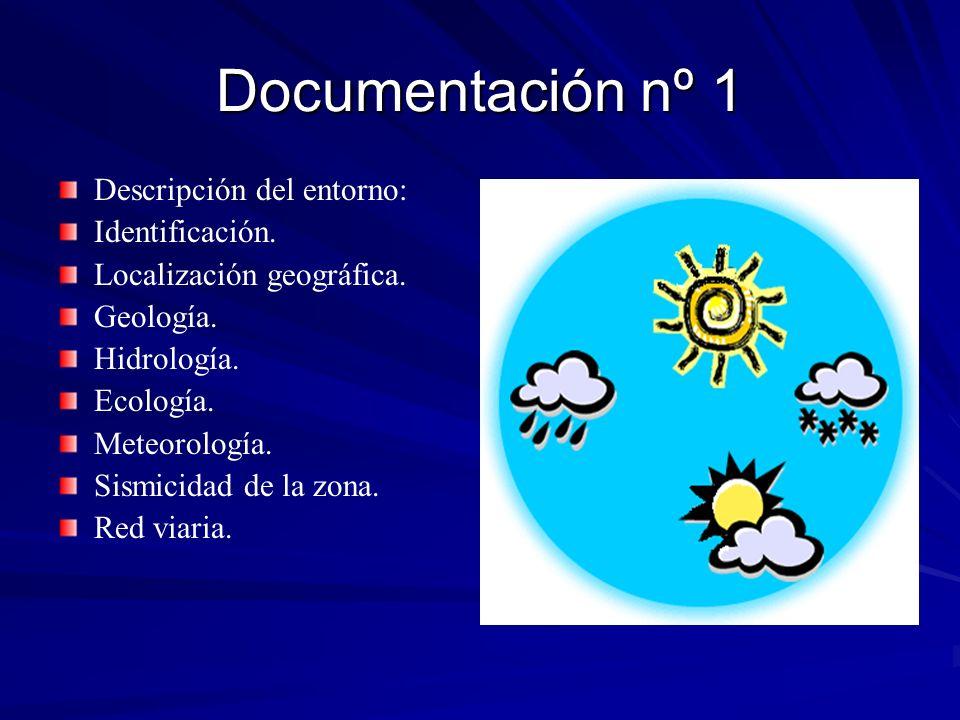 Documentación nº 1 Descripción del entorno: Identificación. Localización geográfica. Geología. Hidrología. Ecología. Meteorología. Sismicidad de la zo