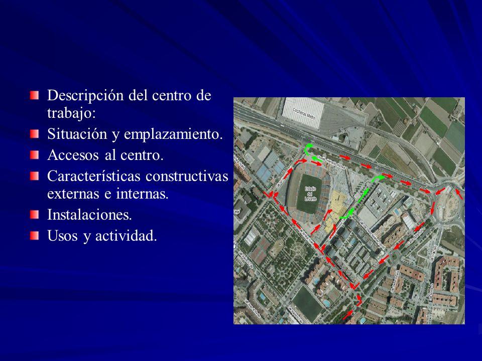 Descripción del centro de trabajo: Situación y emplazamiento. Accesos al centro. Características constructivas externas e internas. Instalaciones. Uso
