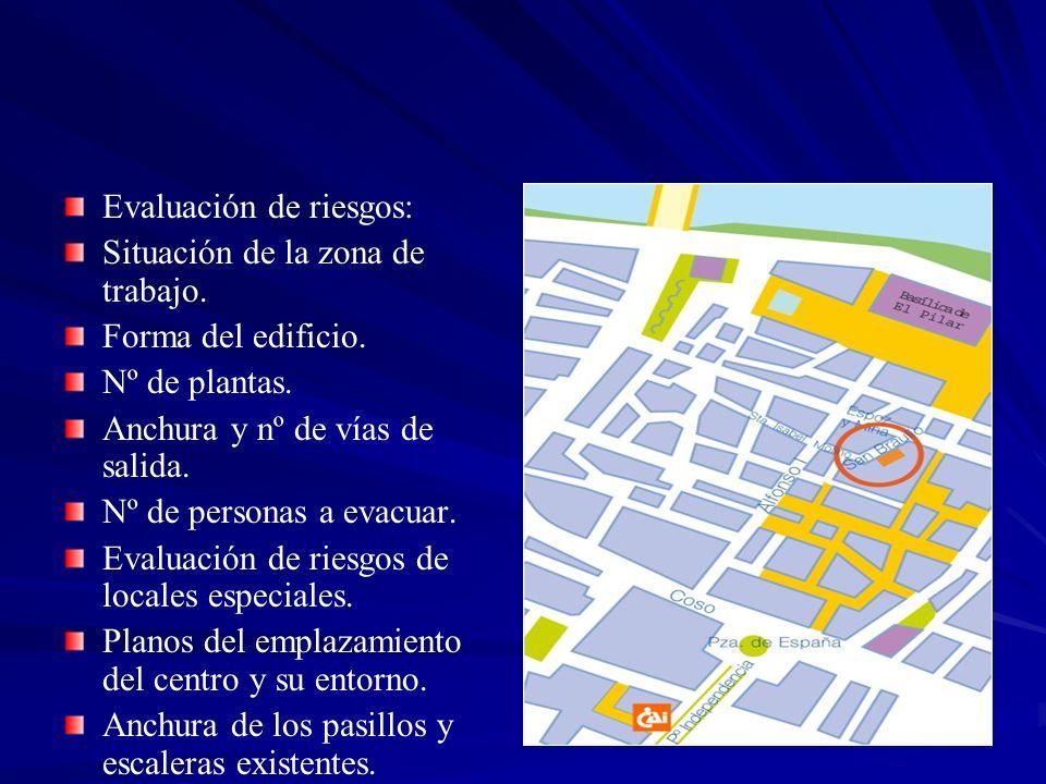 Evaluación de riesgos: Situación de la zona de trabajo. Forma del edificio. Nº de plantas. Anchura y nº de vías de salida. Nº de personas a evacuar. E
