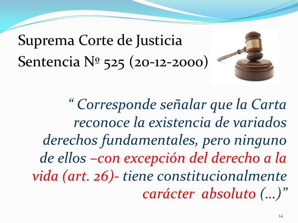 Suprema Corte de Justicia Sentencia Nº 525 (20-12-2000) Corresponde señalar que la Carta reconoce la existencia de variados derechos fundamentales, pe