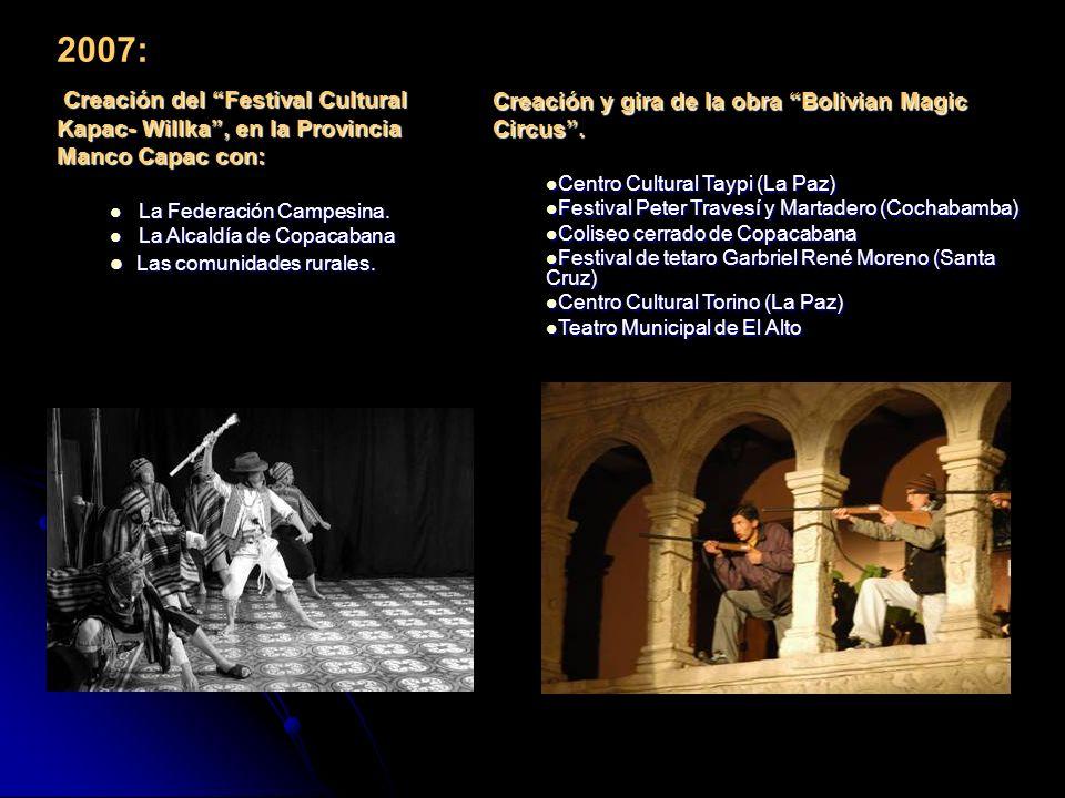 2007: Creación del Festival Cultural Kapac- Willka, en la Provincia Manco Capac con: Creación del Festival Cultural Kapac- Willka, en la Provincia Manco Capac con: La Federación Campesina.