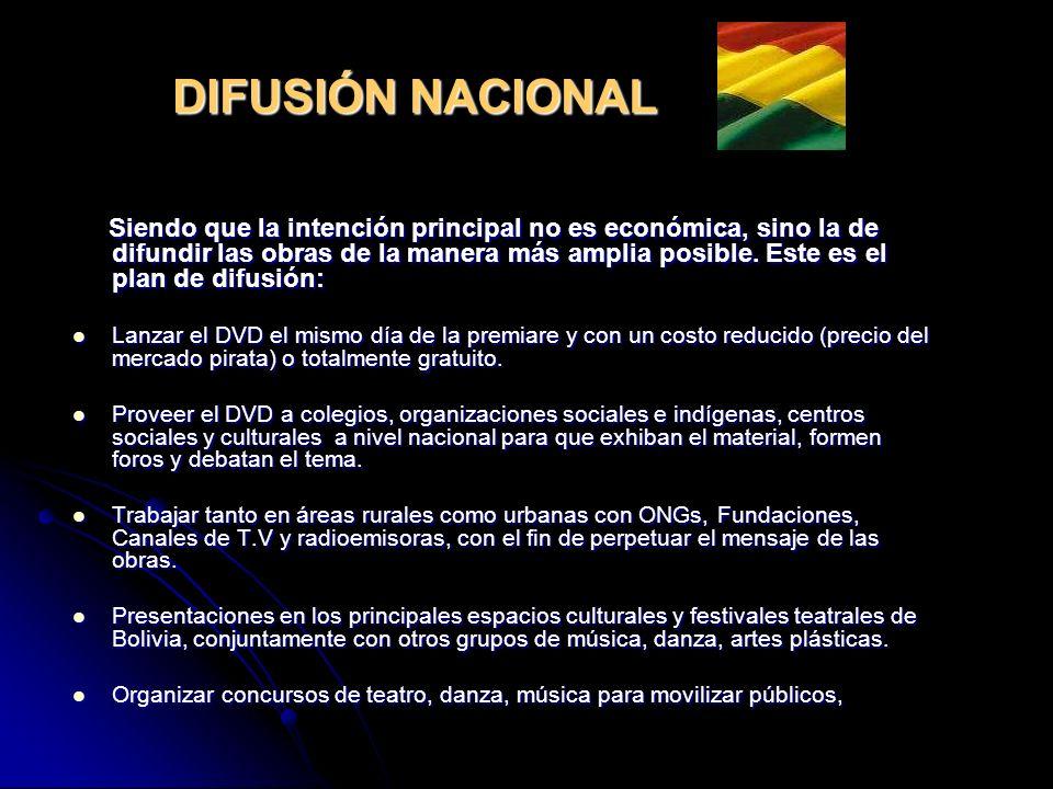 DIFUSIÓN NACIONAL Siendo que la intención principal no es económica, sino la de difundir las obras de la manera más amplia posible.